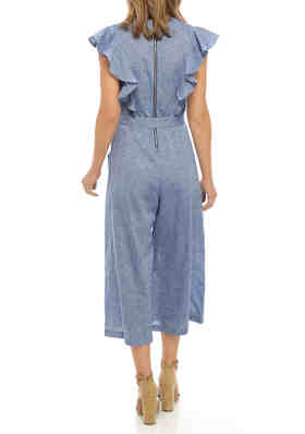 BCBGeneration Womens Ruffle Back Jumpsuit