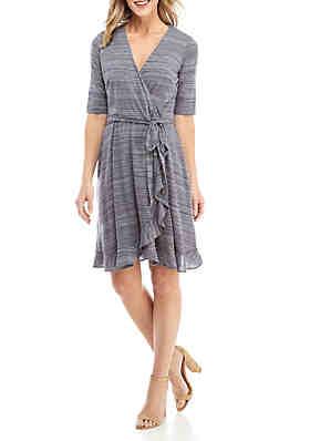 886698051fb Violet Weekend 3 4 Sleeve Ruffle Heather Knit Dress ...