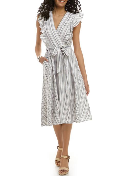 Womens Stripe Surplice Belted Linen Dress