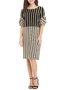Short Sleeve Stripe Crepe Dress With Pockets