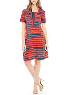 Short Sleeve Striped Pocket Dress