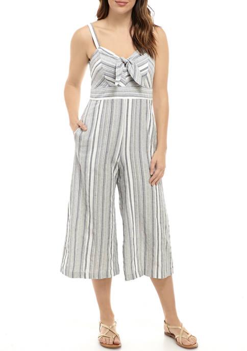 Womens Stripe Linen Cropped Jumpsuit