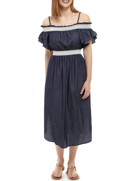 Womens Ruffle Smocked Chambray Dress