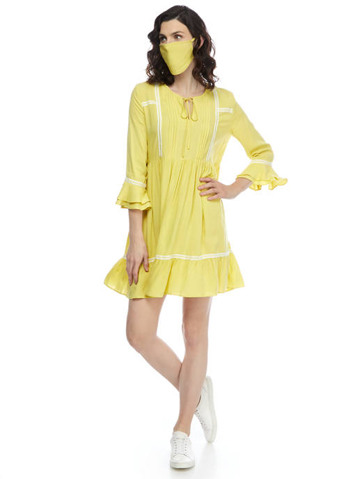 Womens Flare Sleeve Solid Peasant Babydoll Dress and Face Mask