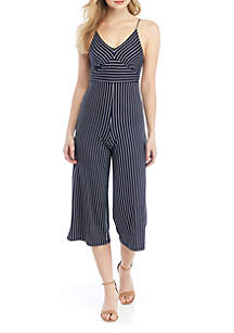 Polly & Esther Bungee Tank Stripe Knit Jumpsuit