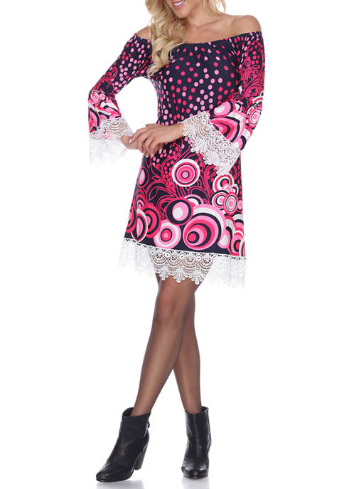 White Mark Lenora Lace Trim Dress