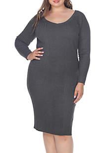 Plus Size 'Destiny' Knee Length Sweater Dress