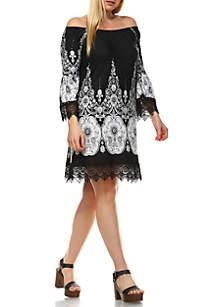 White Mark Plus Size 'Mya' Lace Trim Printed Dress