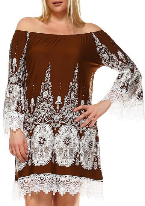 Plus Size Mya Lace Trim Printed Dress