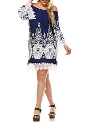 023d3f25861 White Mark Plus Size  Mya  Lace Trim Printed Dress ...