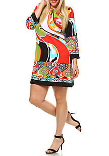 Plus Size 'Abstract Wave' Printed Dress