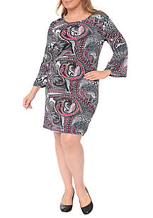 Plus Size 'Joanna' Bell Sleeve Dress