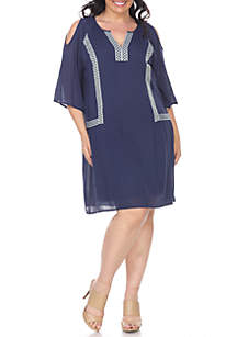 Plus Size 'Marybeth' Embroidered Dress