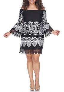 Plus Size 'Alta' Lace Trim Dress