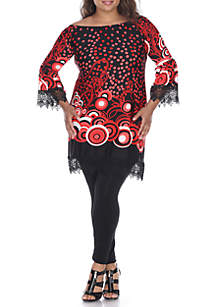 Plus Size 'Lenora' Lace Trim Dress