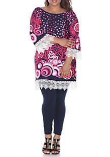 White Mark Plus Size 'Lenora' Lace Trim Dress