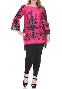 Plus Size 'Uniss' Lace Trim Dress