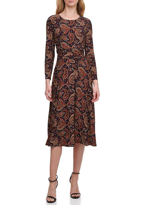 Womens 3/4 Sleeve Portofino Paisley Dress