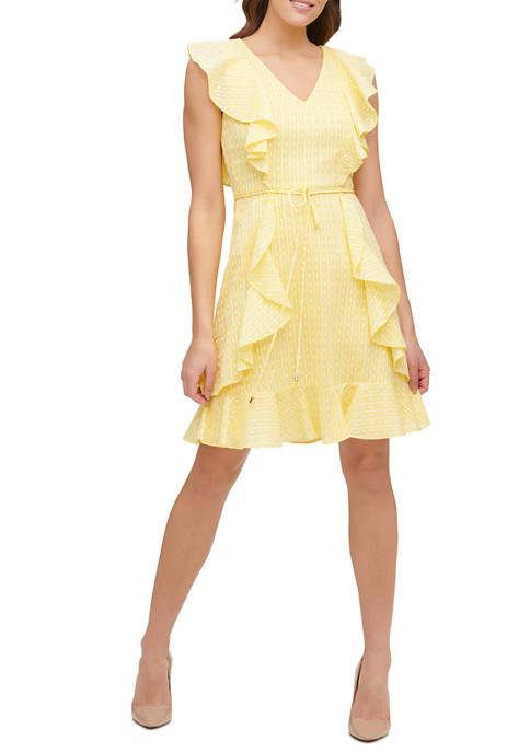 Womens Flair Dot Cotton Stripe Ruffle Dress