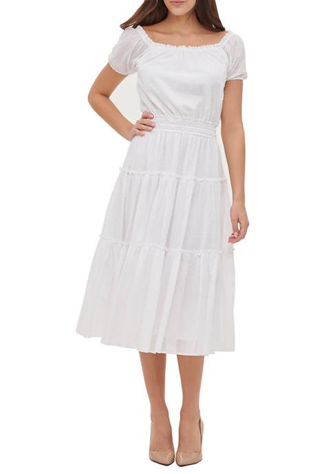 Womens Sheer Dot Stripe Peasant Tier Midi Dress