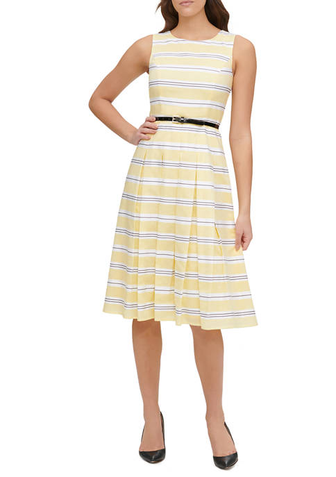 Womens Sound Stripe Cotton Pleated Skirt Dress with Belt