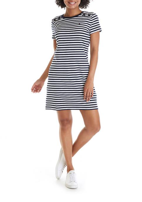 Womens Short Sleeve Striped T-Shirt Dress with Shoulder Detail