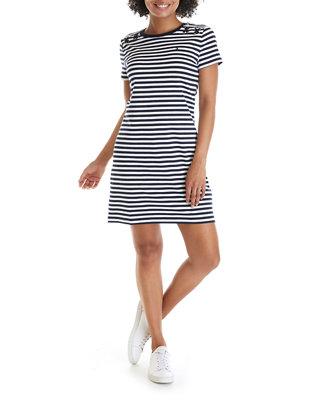 Women's Short Sleeve Striped T-Shirt Dress with Shoulder Detail