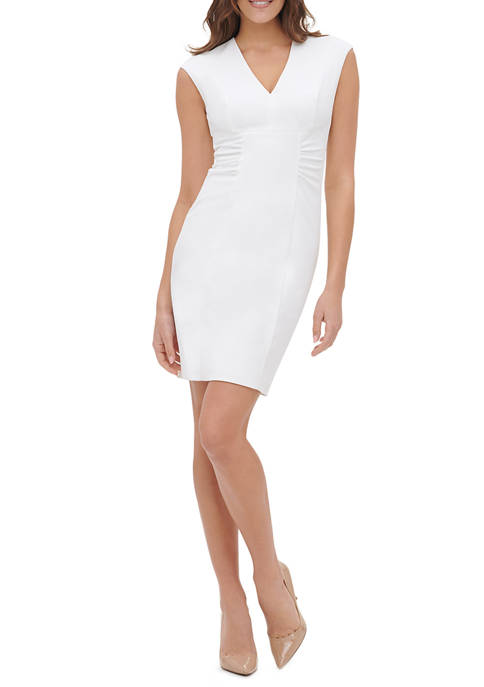 Womens Scuba Crepe Sheath Dress with Side Ruched Detail