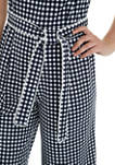 Womens Gingham Scuba Crepe Cropped Jumpsuit