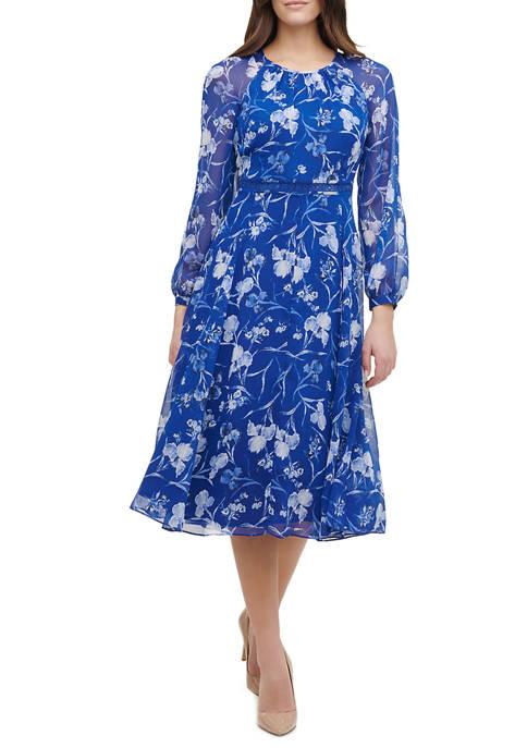 Womens Night Iris Long Sleeve Chiffon Midi Dress