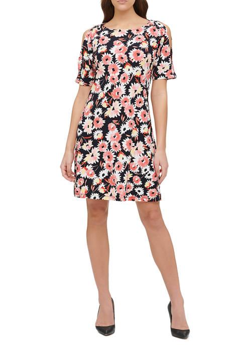 Womens Summer Dahlia Shift Dress with Grommet Shoulder Detail