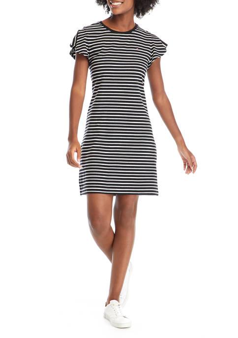 Womens Short Flutter Sleeve Stripe T-Shirt Dress