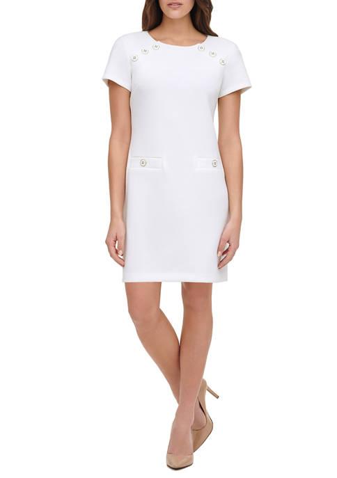 Womens Pique Knit Shift Dress with Shoulder Button Detail