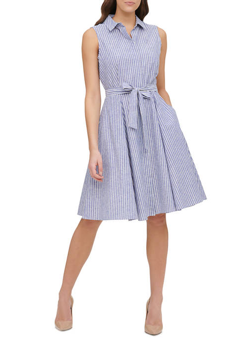 Womens Narrow Stripe Fit and Flare Shirt Dress
