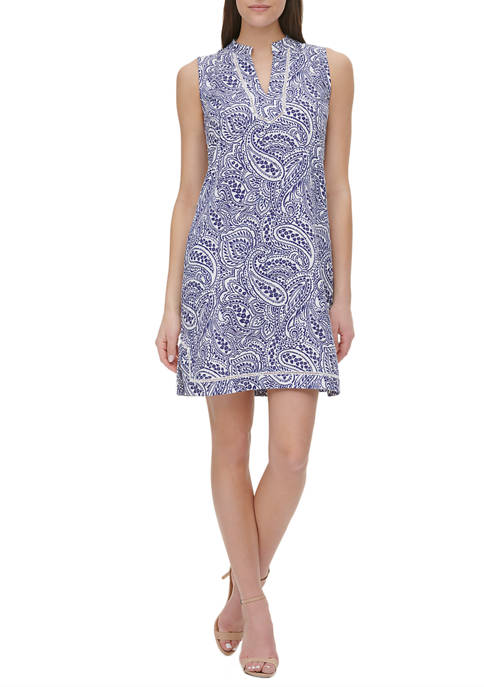 Tommy Hilfiger Womens Atlas Paisley Linen Shift Dress