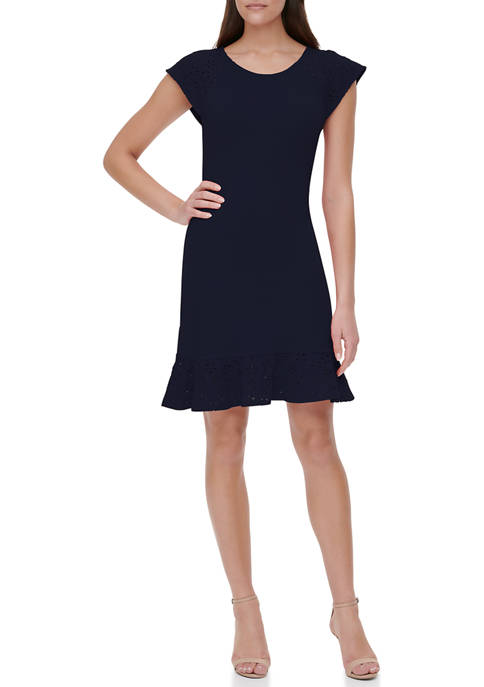 Tommy Hilfiger Womens Piqué Embroidered Sleeve Dress