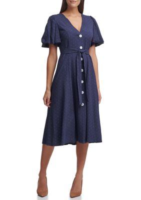 Tommy Hilfiger Womens Short Sleeve Button Front Textured Dress