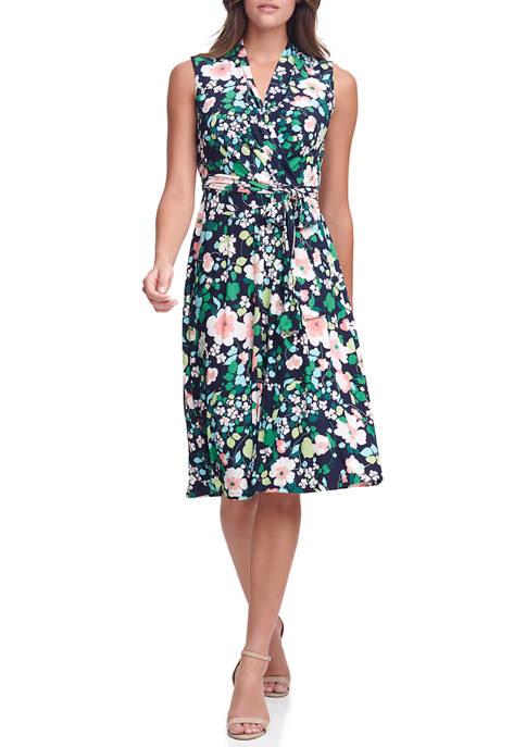 Tommy Hilfiger Womens Sleeveless Floral Wrap Dress