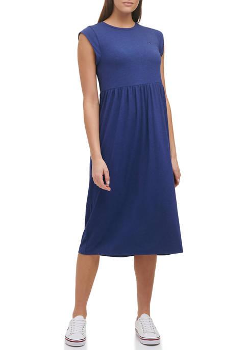Tommy Hilfiger Womens Cap Sleeve Waist Midi Dress