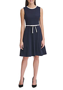 Tommy Hilfiger Scuba Crepe Fit and Flare Dress with Bow Waist Detail