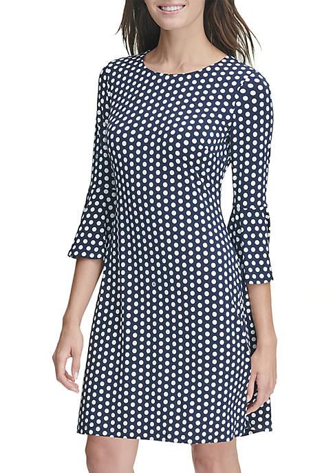 3/4 Ruffle Sleeve Dot Duo Dress