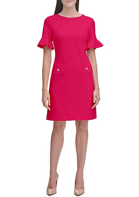 Short Ruffle Sleeve Crepe Dress with Pocket Detail