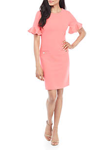 Tommy Hilfiger Short Ruffle Sleeve Crepe Dress with Pocket Detail