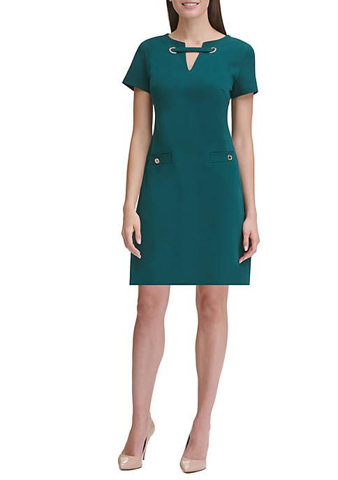 Scuba Crepe Shift Dress with Grommet Neck Detail