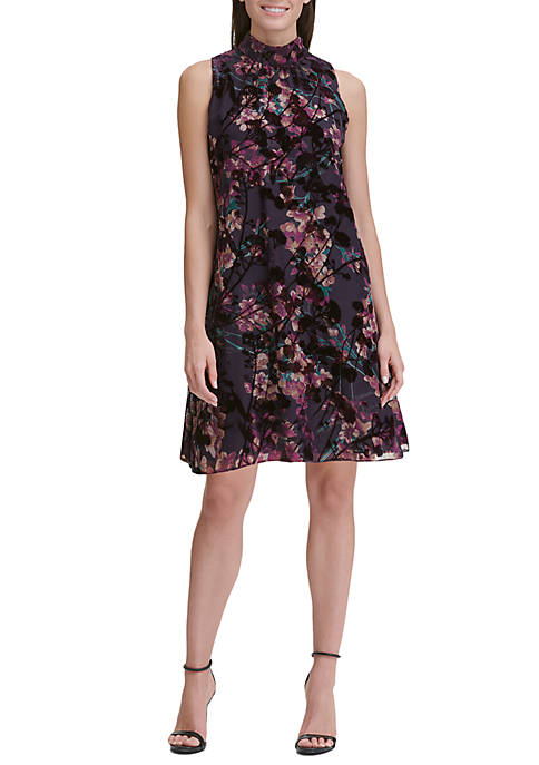 Romantic Azalea Velvet Burnout Trapeze Dress