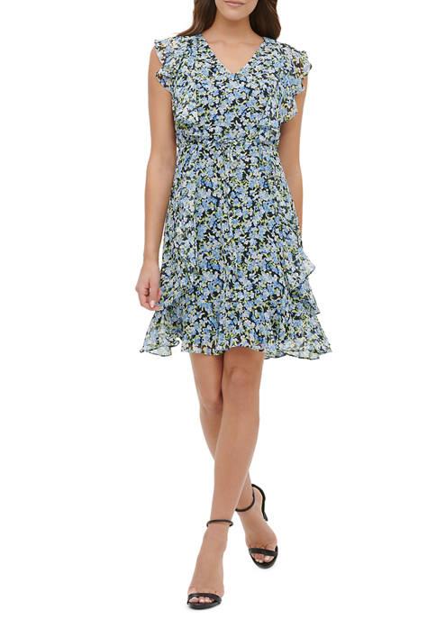Womens Megan Floral Chiffon Ruffle Dress