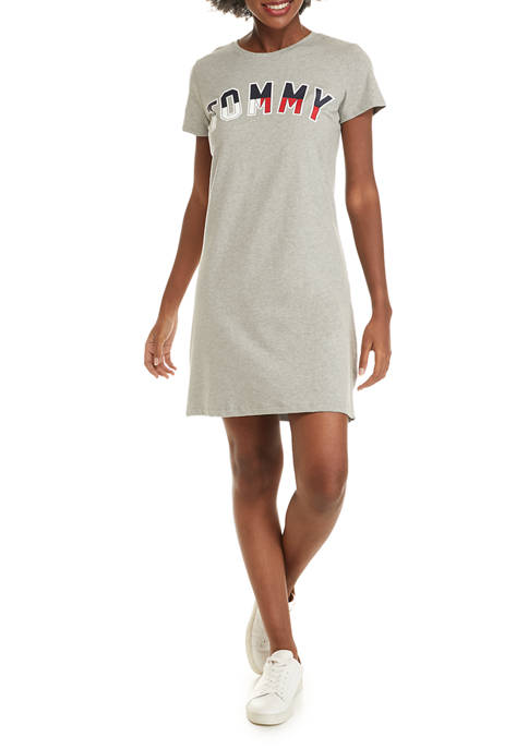 Womens Short Sleeve Crew Neck Graphic T-Shirt Dress