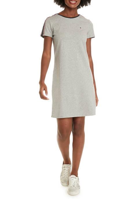 Womens Logo Tape Sleeve Crew T-Shirt Dress