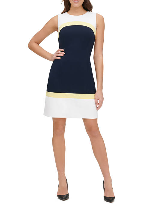 Tommy Hilfiger Womens Color Block Scuba Crepe Shift