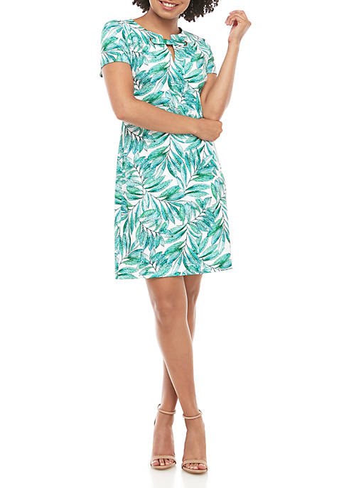 Short Sleeve Scuba Print Neck Detail Dress